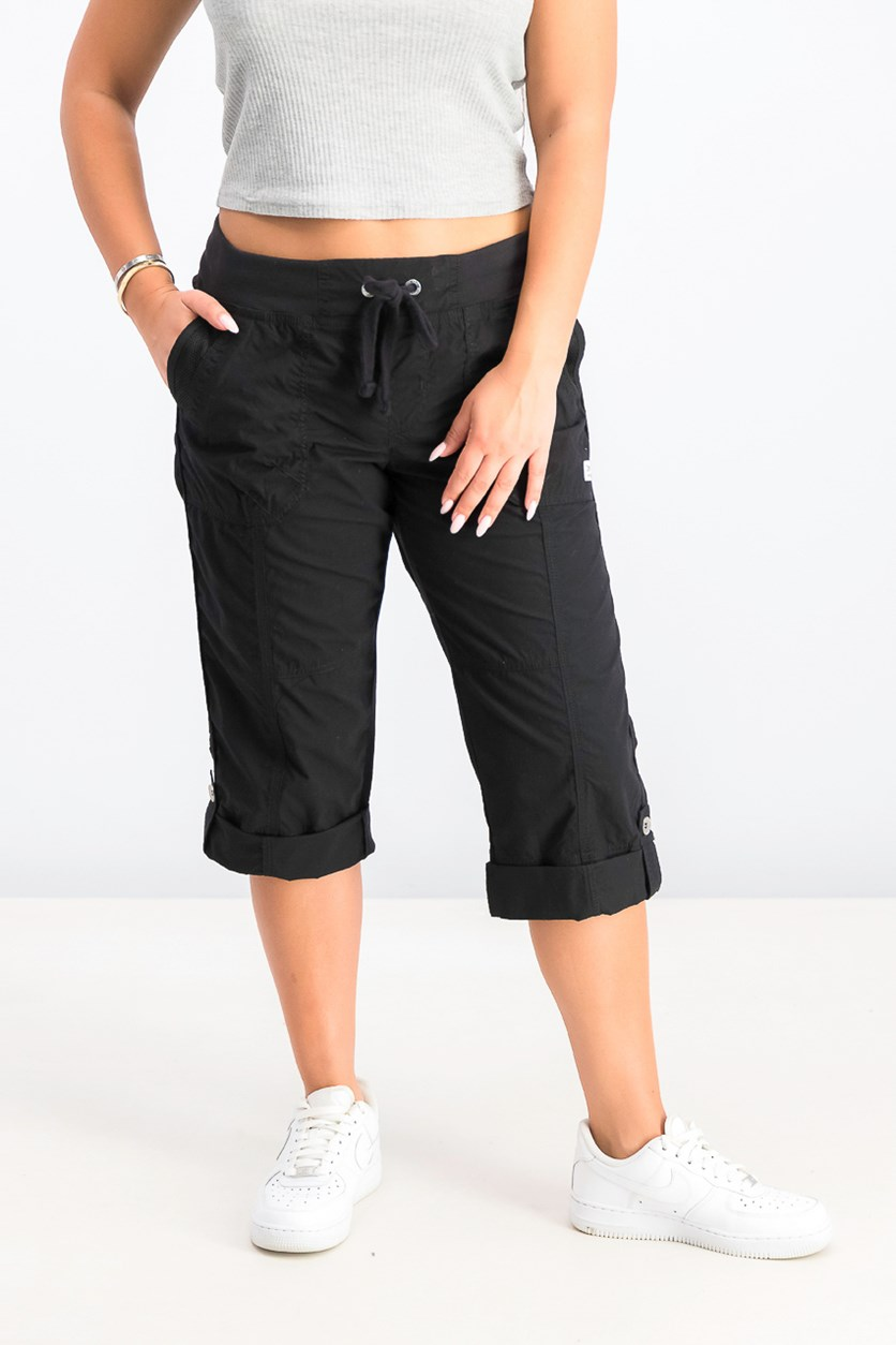 Women's Cargo Fitness Capri Pants, Black