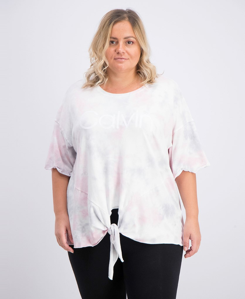 Women's Performance Plus Size Tie-Dyed Logo Tie-Front T-Shirt, Grey/Pink