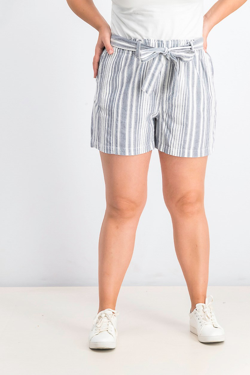 Women's Striped Short, Grey/White