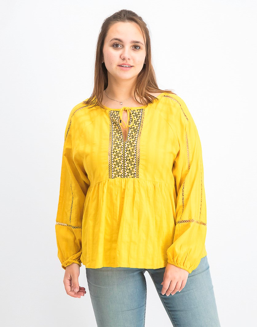 Women's Embroidered Peasant Top, Dessert Marigold