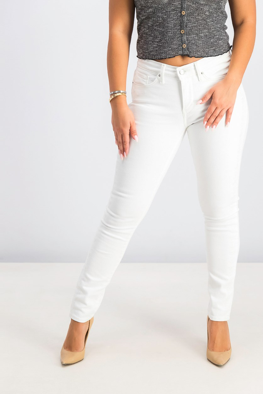 Women's Embroidered Side Skinny Jeans, White
