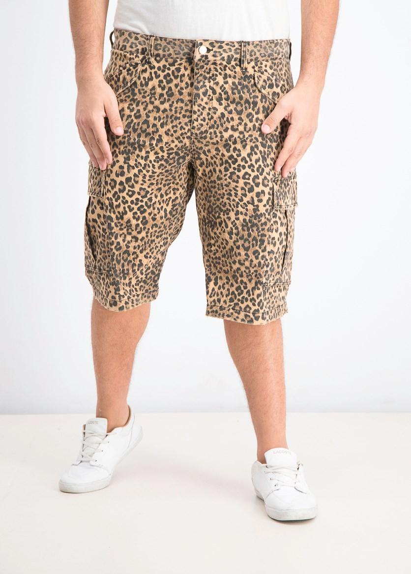 Men's Leopard-Print Cargo Shorts, Black/Brown