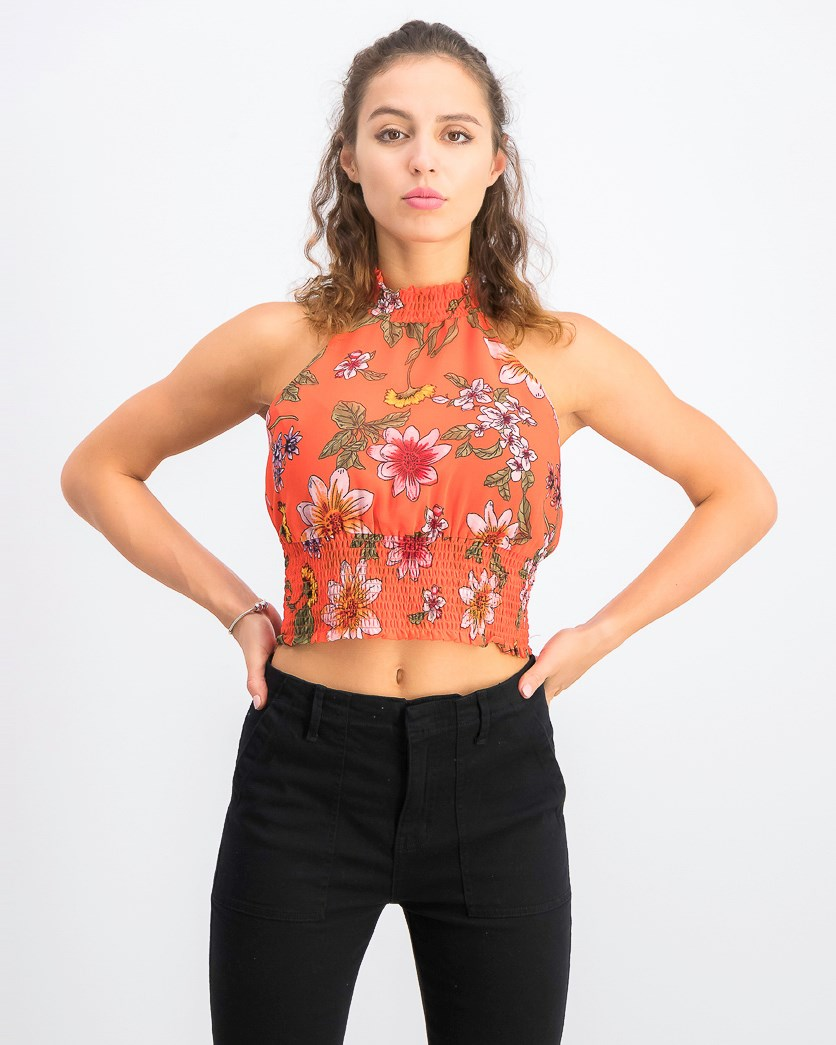 Women's Jadie Smocked Crop Top, Red Combo