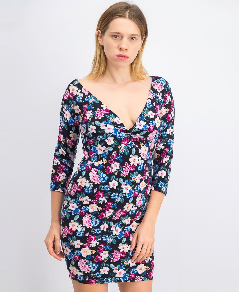 Womens Islynn Floral Print Gathered Party Dress, Black Combo