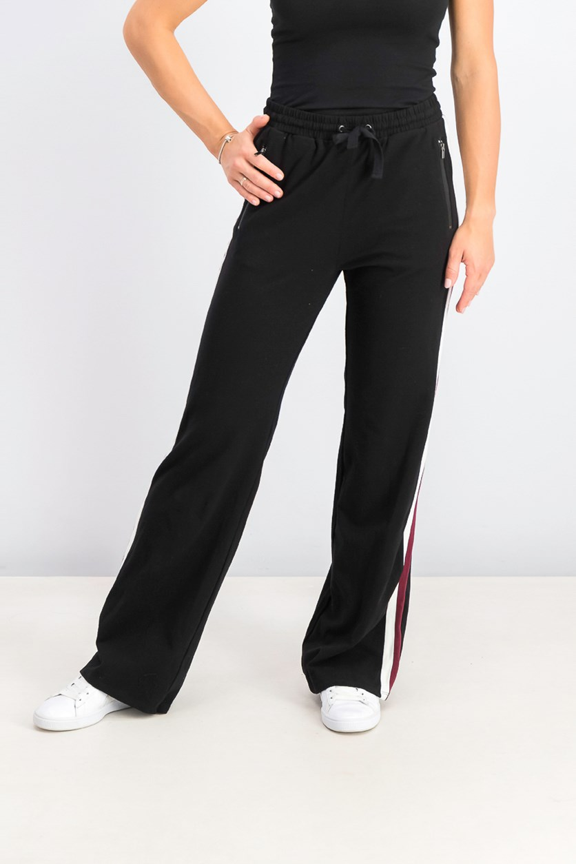 Womens Juniors' Flared Track Pants, Black