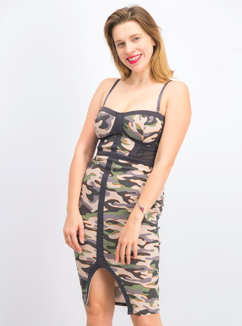 Juniors' Embroidered Illusion Midi Dress, Camo