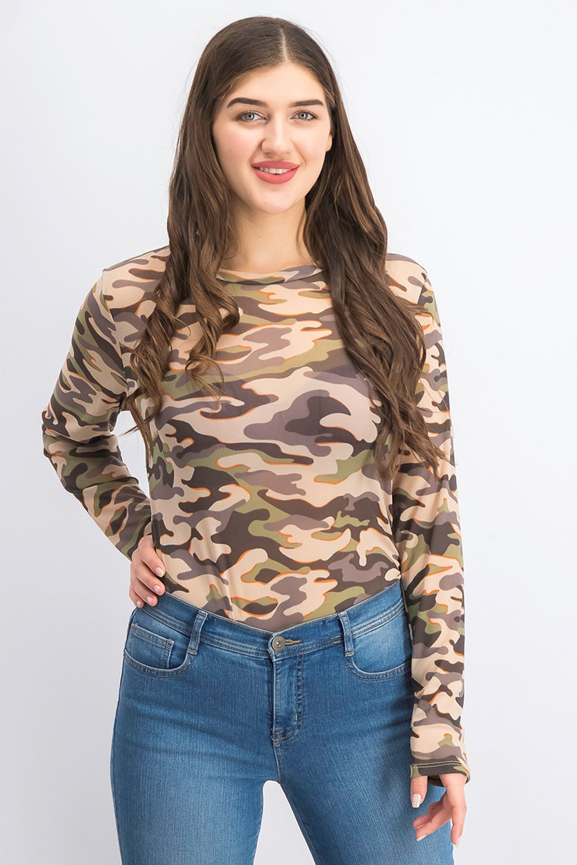Juniors' Printed Mesh Bodysuit, Camo/Green Combo