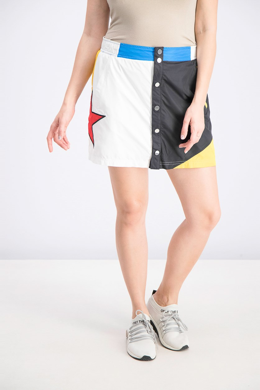 Womens' Colorblocked Snap-Front Skirt, White Combo