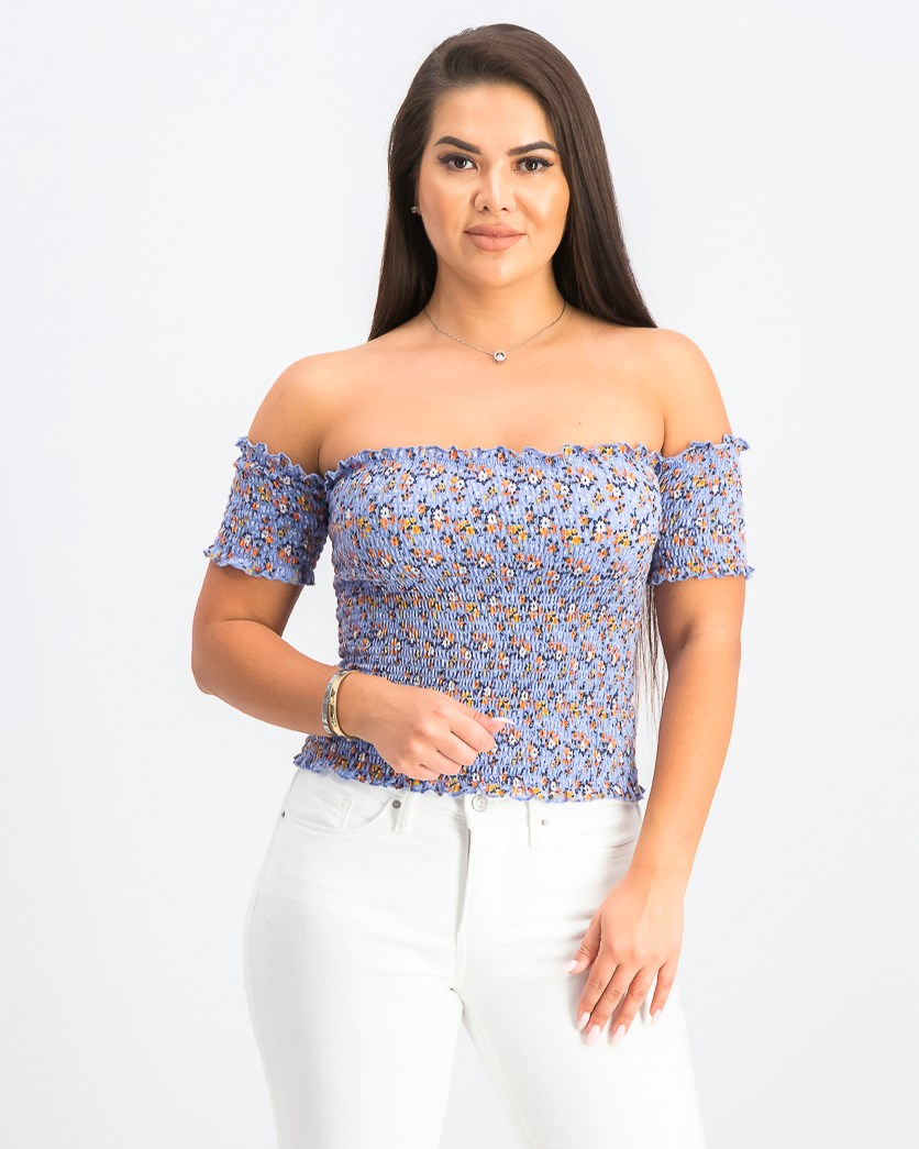 Juniors' Smocked Off-the-Shoulder Crop Top, Light Blue Floral