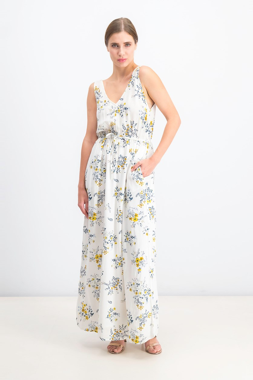 Floral Printed V-Neck Maxi Dress, Ivory Combo