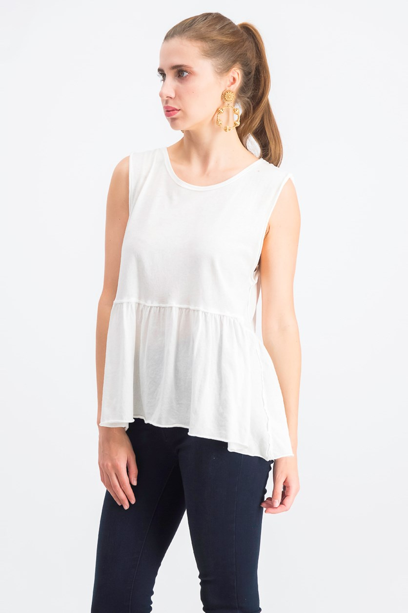 Womens Anytime Cotton Peplum Tank Top, Ivory