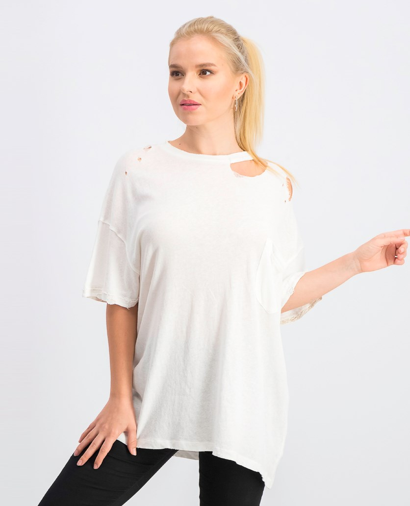 Women's Lucky Oversized Distressed T-Shirt, Ivory