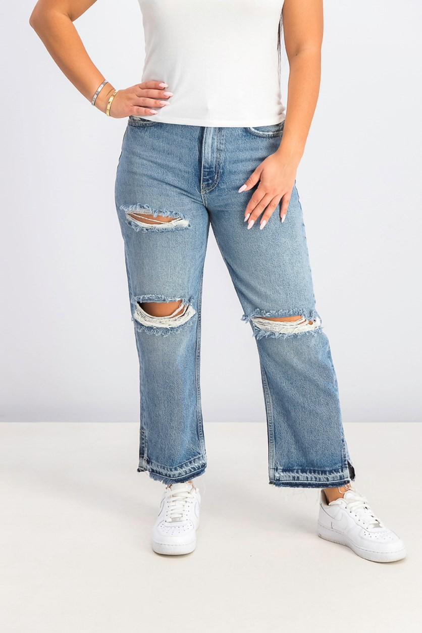 Women's Distressed High-Waisted Slim Leg Jeans, Blue