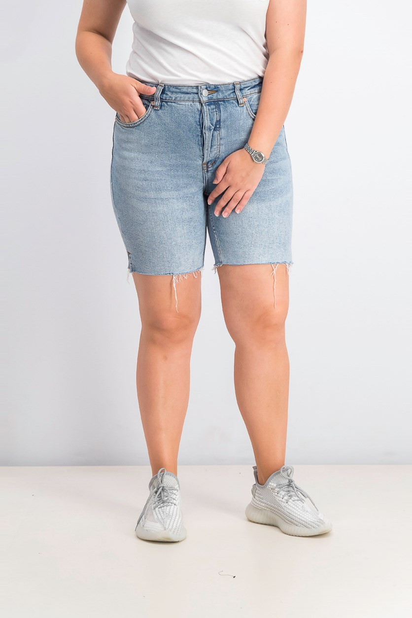 Women's Avery Raw-Edge Denim Bermuda Shorts, Pacific Blue Wash