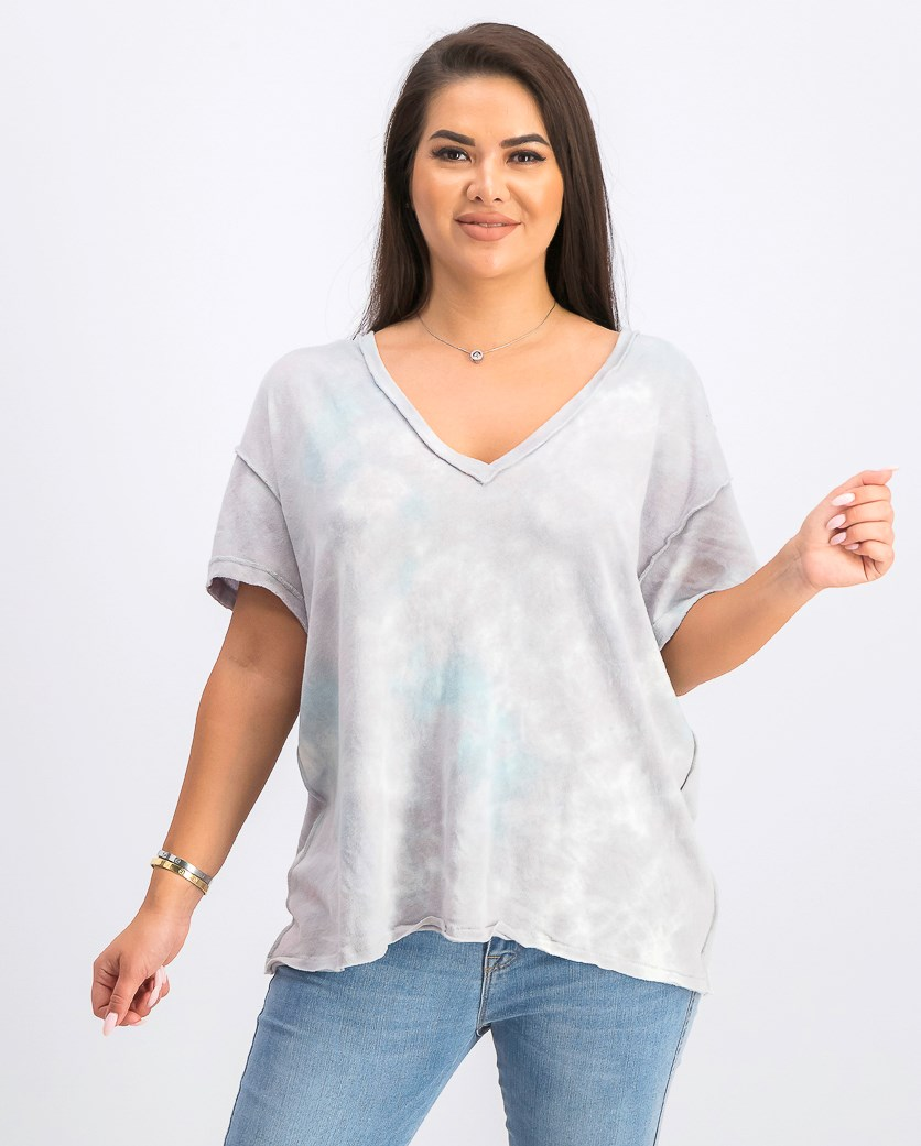 Womens All Mine Tie-Dyed T-Shirt, Grey Storm Combo