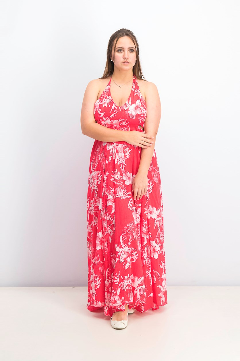 Women's Lille Printed Tie-Back Maxi Dress, Raspberry