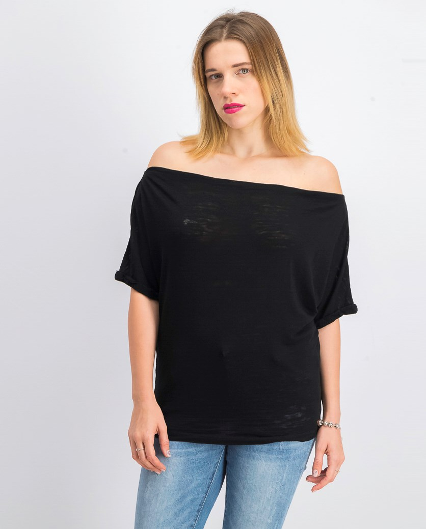 Women's Astrid Convertible Neck Tee, Black