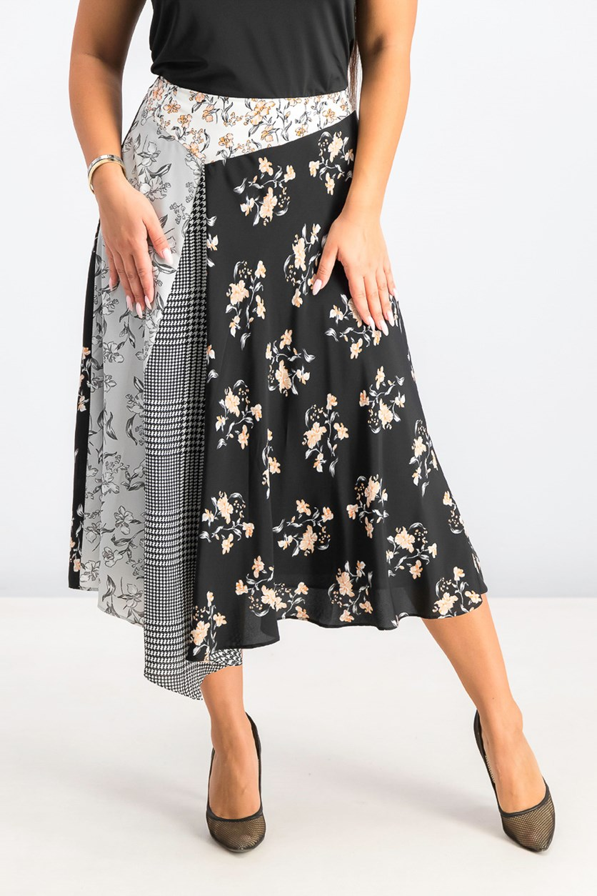 Women's Pieced-Print Asymmetrical Midi Skirt, Black/White Combo