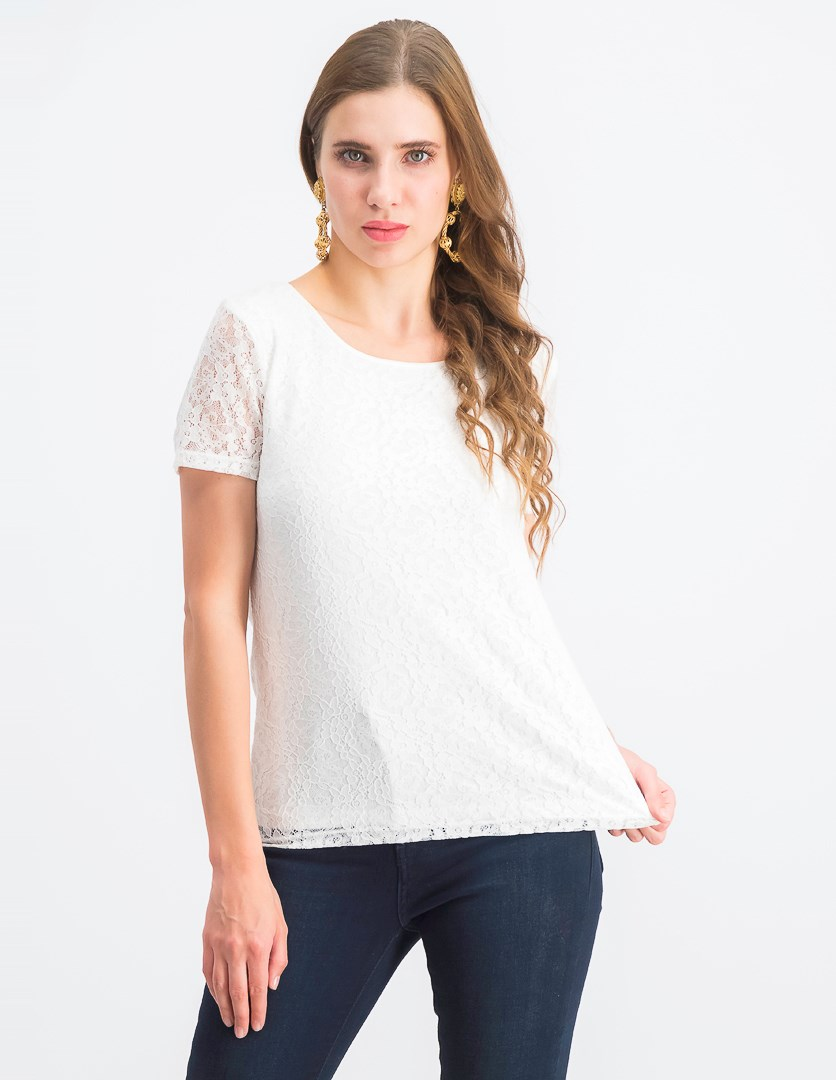 Women's  Floral Lace Top, White