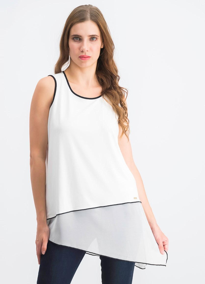 Women's Sleeveless Asymmetric Mixed Media Trimmed Top, Black/White