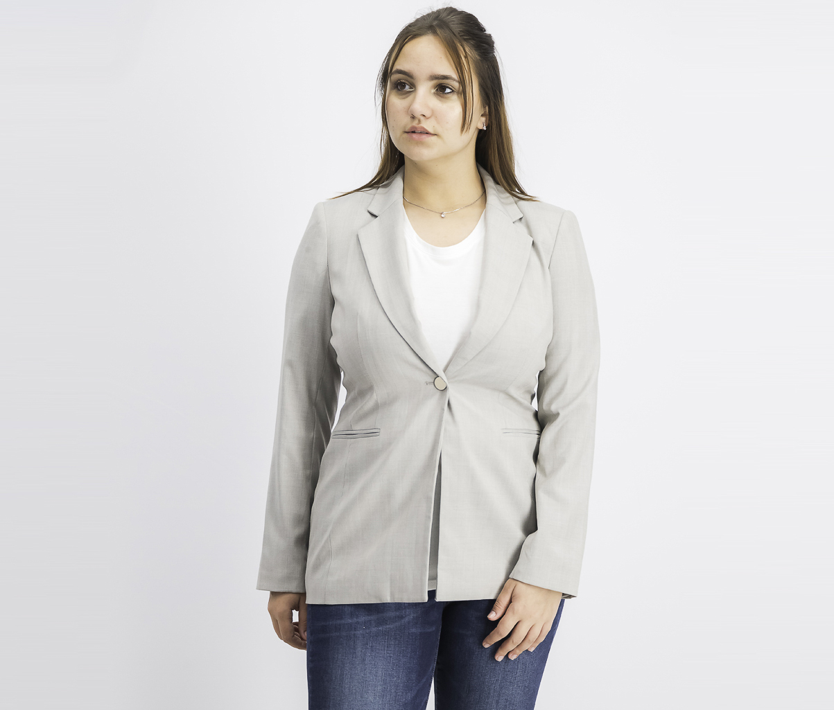 Women's Notched-Lapel Single-Button Blazer, Dark Beige