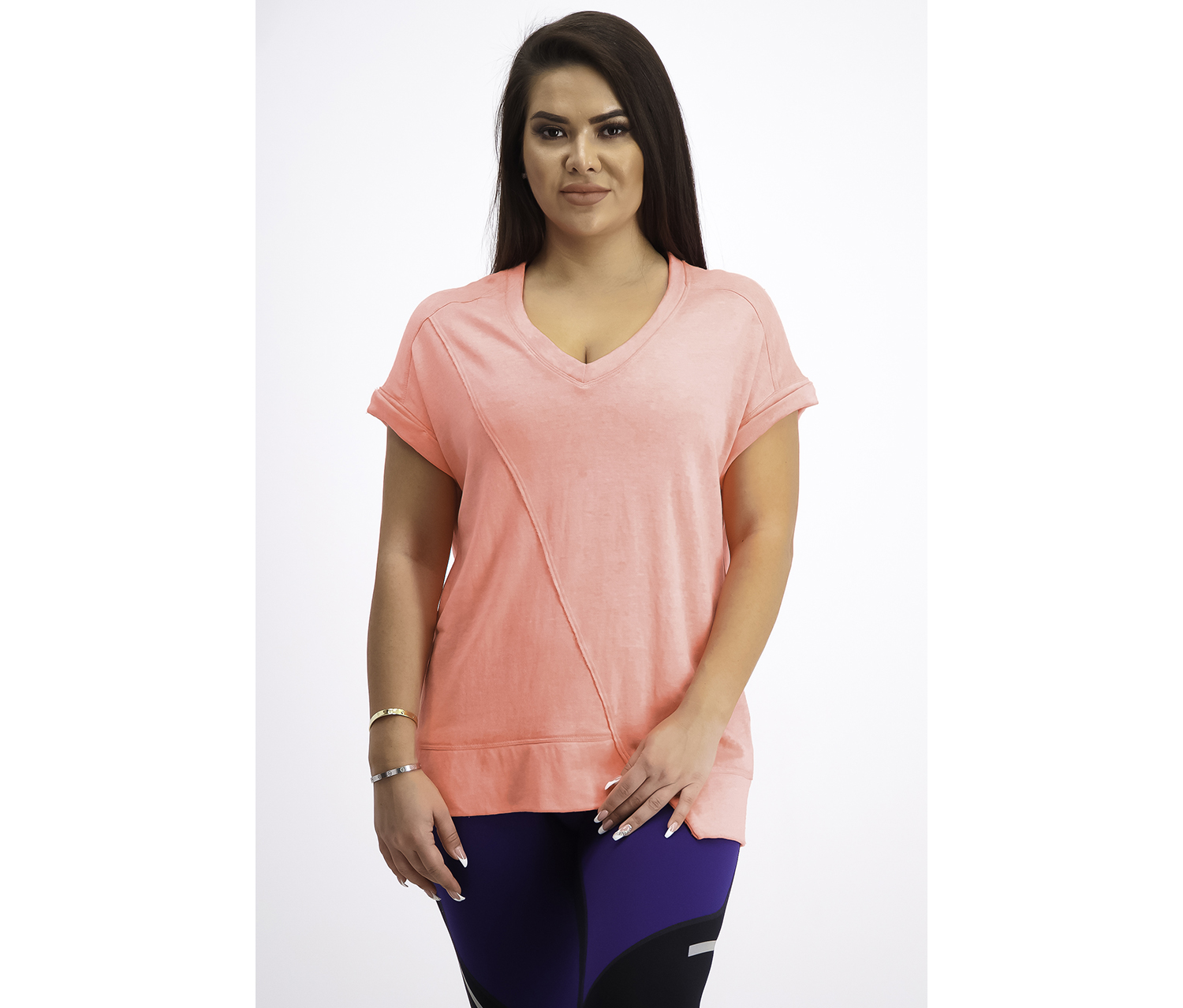 Women's Performance Asymmetrical T-Shirt, Neon Orange