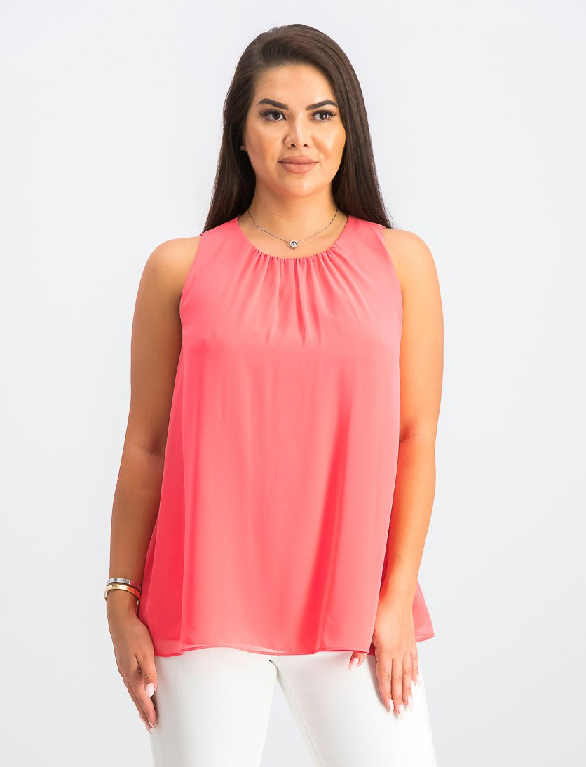Women's Pleated-Neck Sleeveless Top, Coral