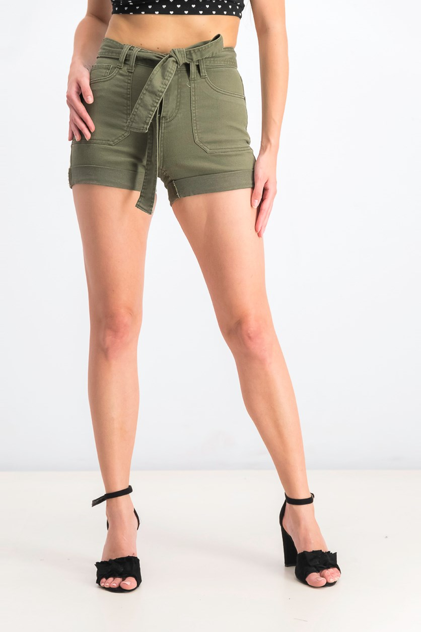 Juniors' Belted Utility Shorts, Fatigue