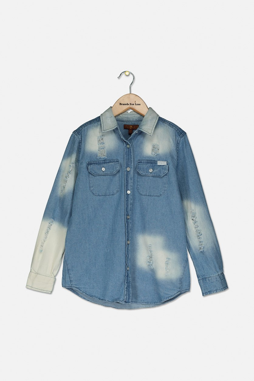 Girls' Button-Down Shirt, Light Denim