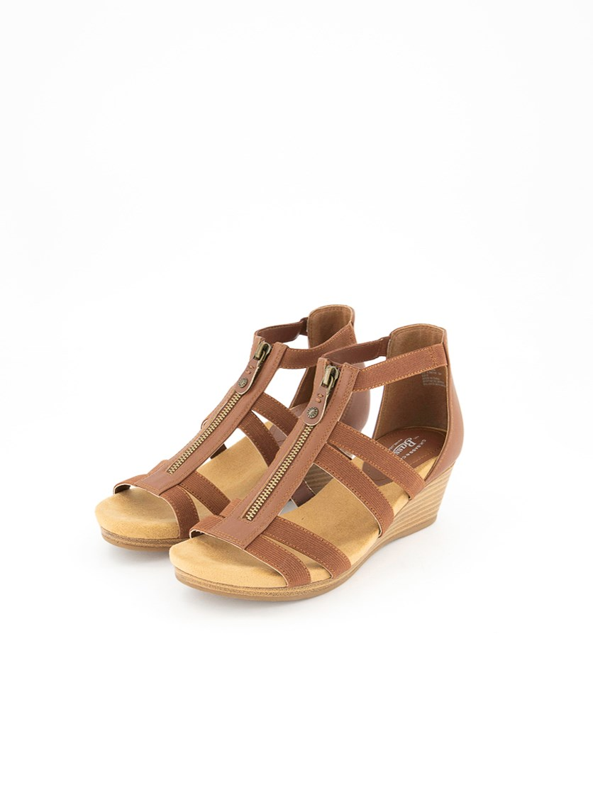 Women's Bass Nadia Wedge Sandals, Cognac
