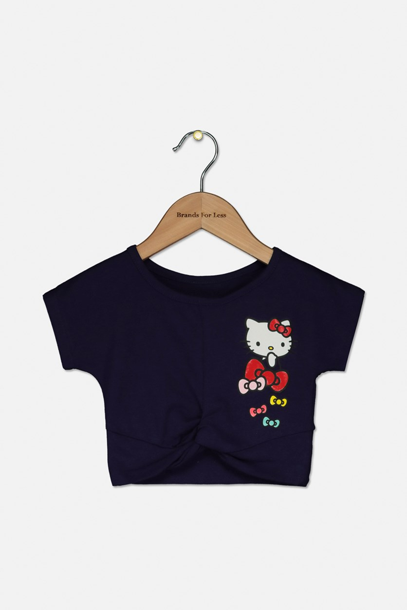 Toddler Girls Knot-Front Graphic-Print T-Shirt, Navy