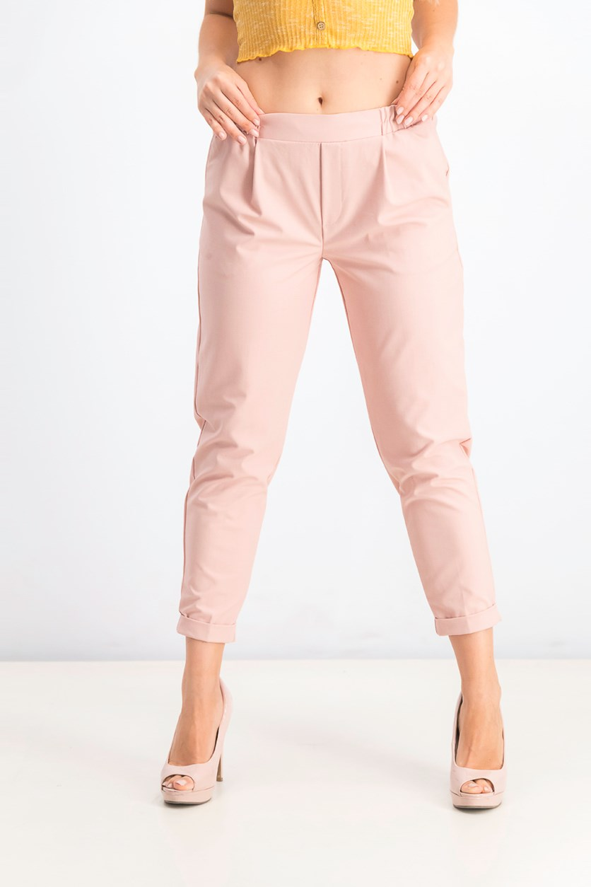 Women's Plain Pull On Pants, Peach