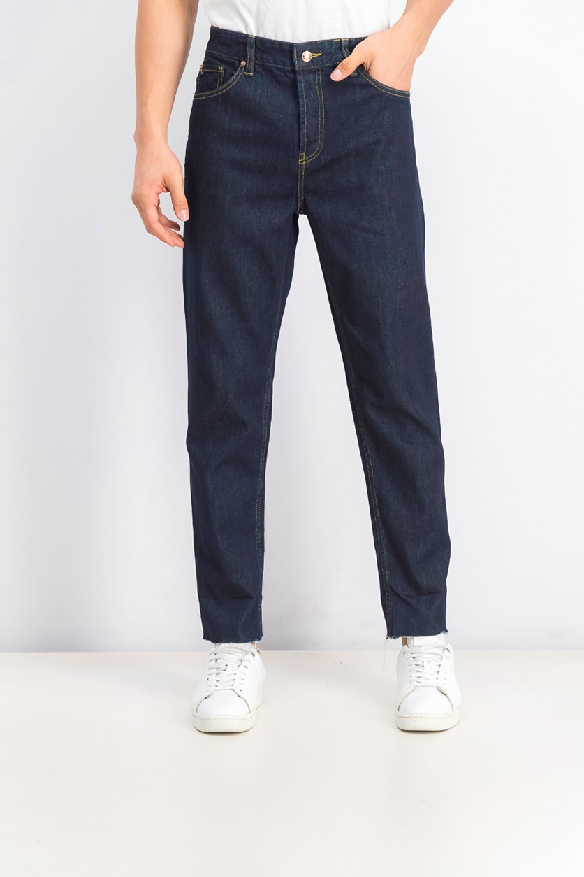 Contrasting Dad Fit Jeans, Dark Indigo/Brown
