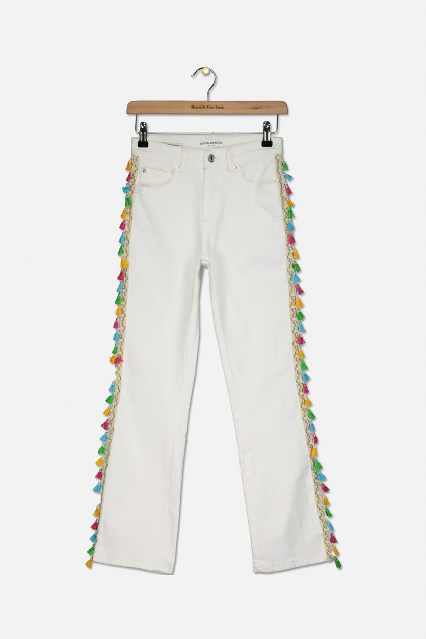 Women's Five Pocket Jeans with Tassel, White