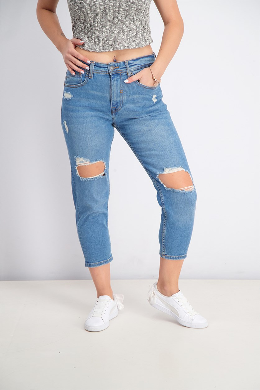 Women's Loose Ripped Jeans, Blue Wash