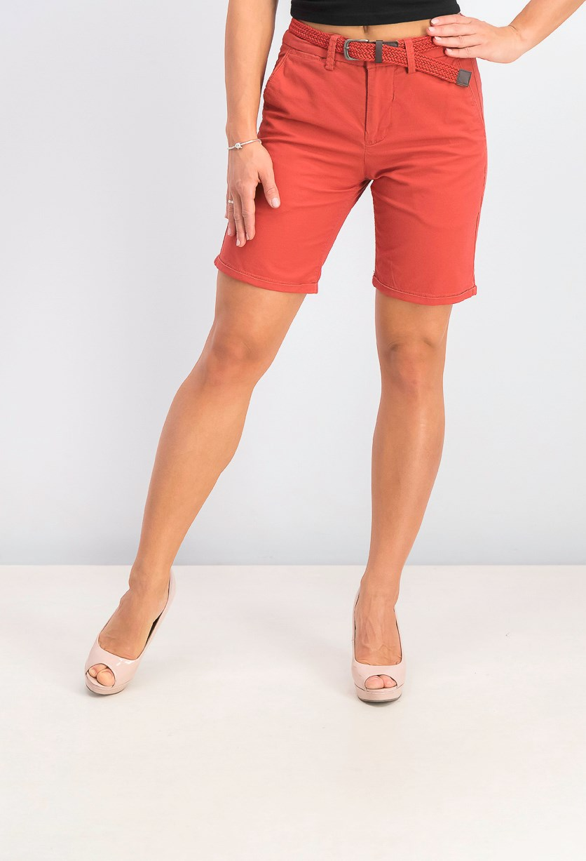 Women Belted Shorts, Red