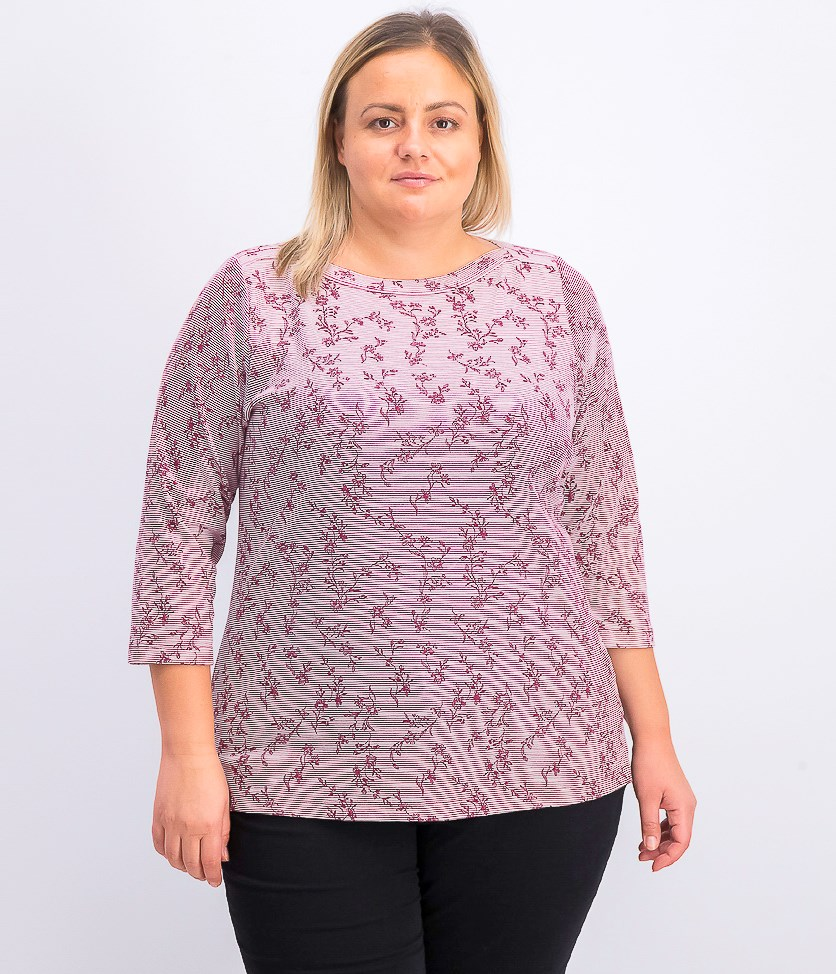 Women's Plus-Size Boat-Neck 3/4-Sleeve T-Shirt, Merlot