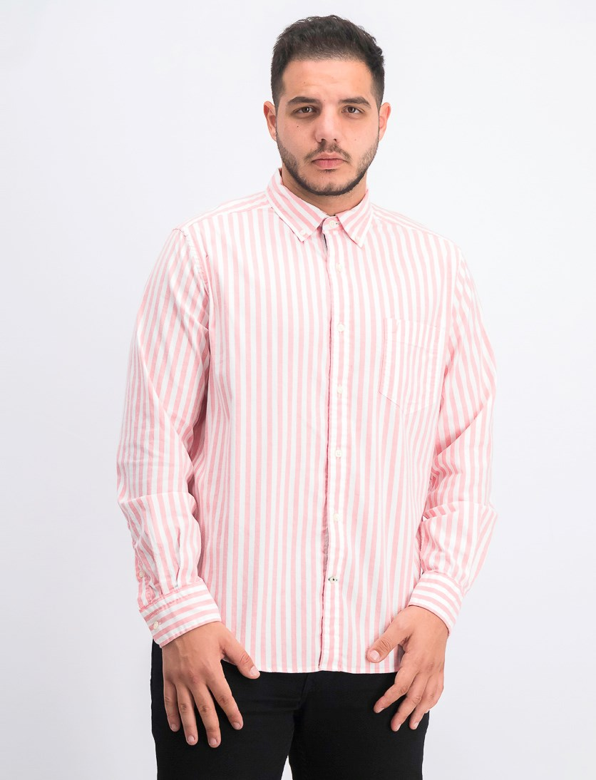 Men's Classic Fit Striped Oxford Shirt, Spiced Coral/White