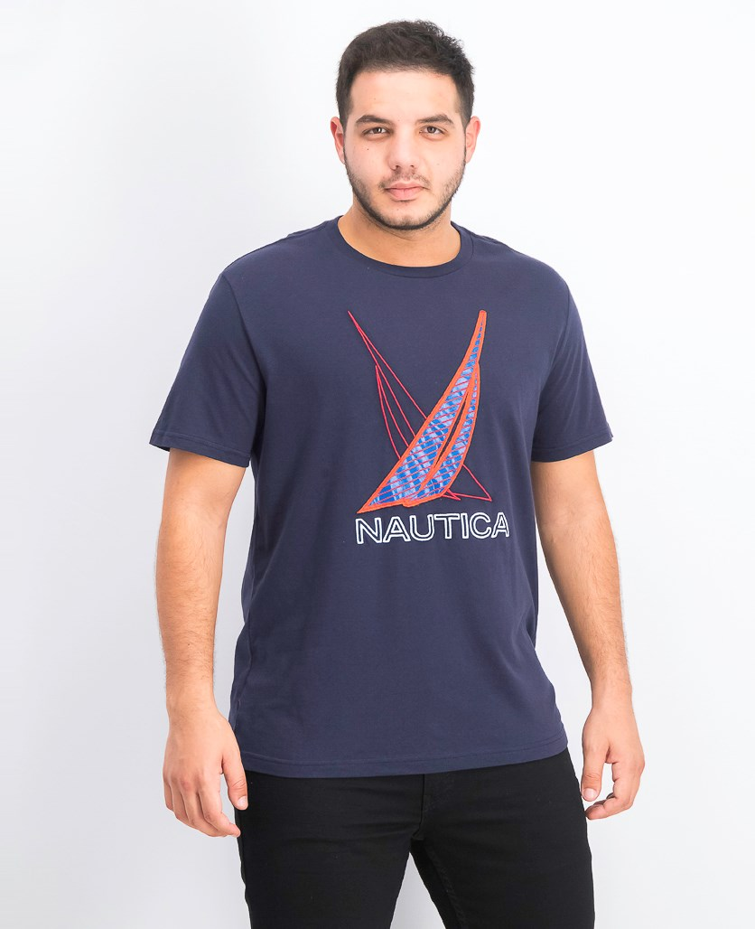 Men's Blue Sail Racer Embroidered Logo Graphic T-Shirt, Navy Blue