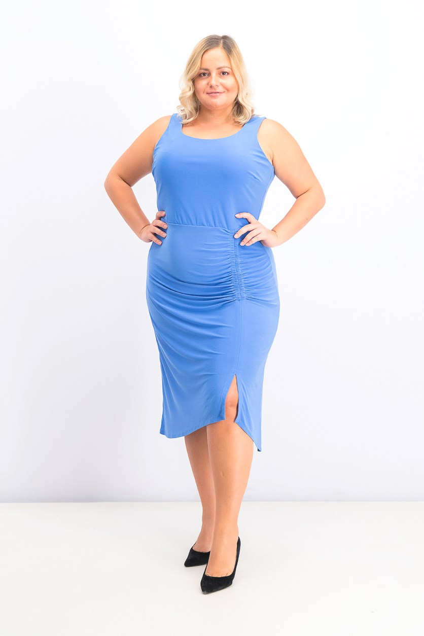 Trendy Plus Size Ruched Sheath Dress, Periwinkle