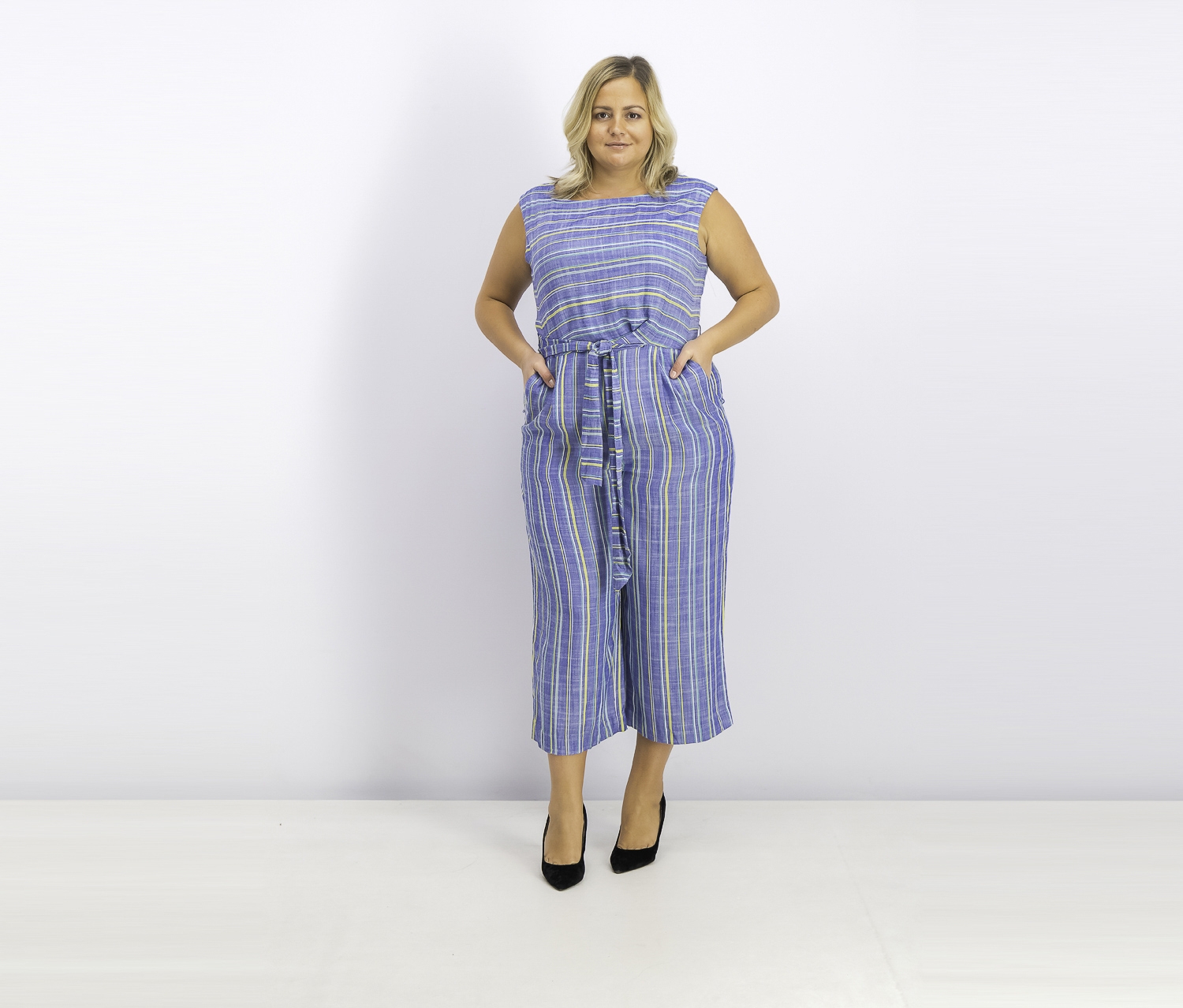 Women's Striped Cropped Jumpsuit, Blue Combo