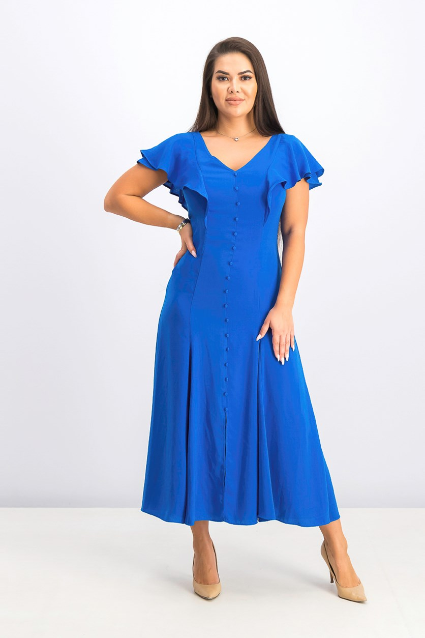 Women's Flutter-Sleeve Georgette Maxi Dress, Summer Royal
