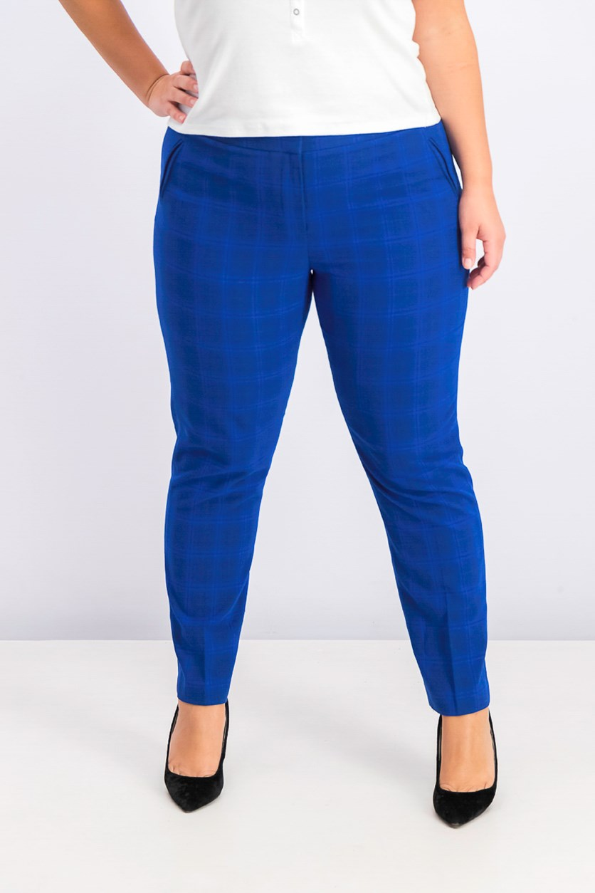 Women's Plaid Ankle Pants, Navy Plaid