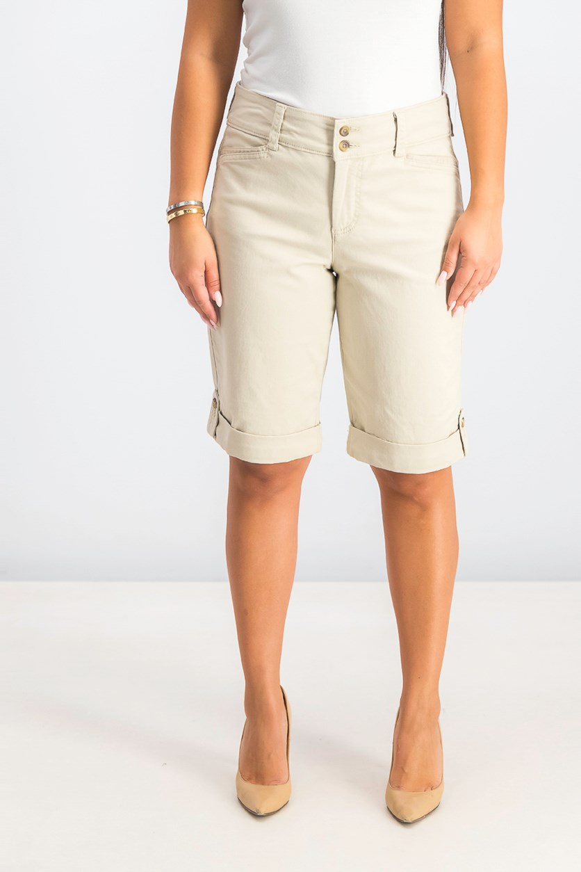 Women's Tummy Control Chino Shorts, Sand