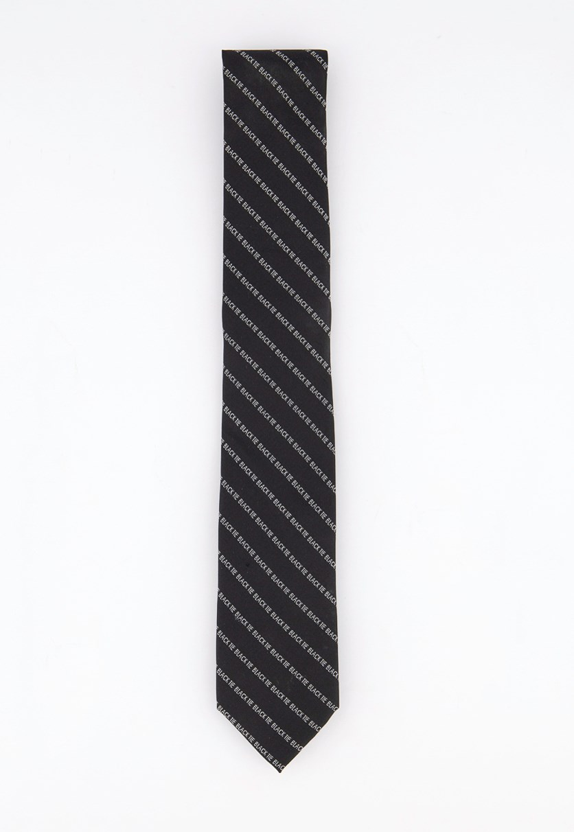 Mens Silk Blend Slim Neck Tie, Black