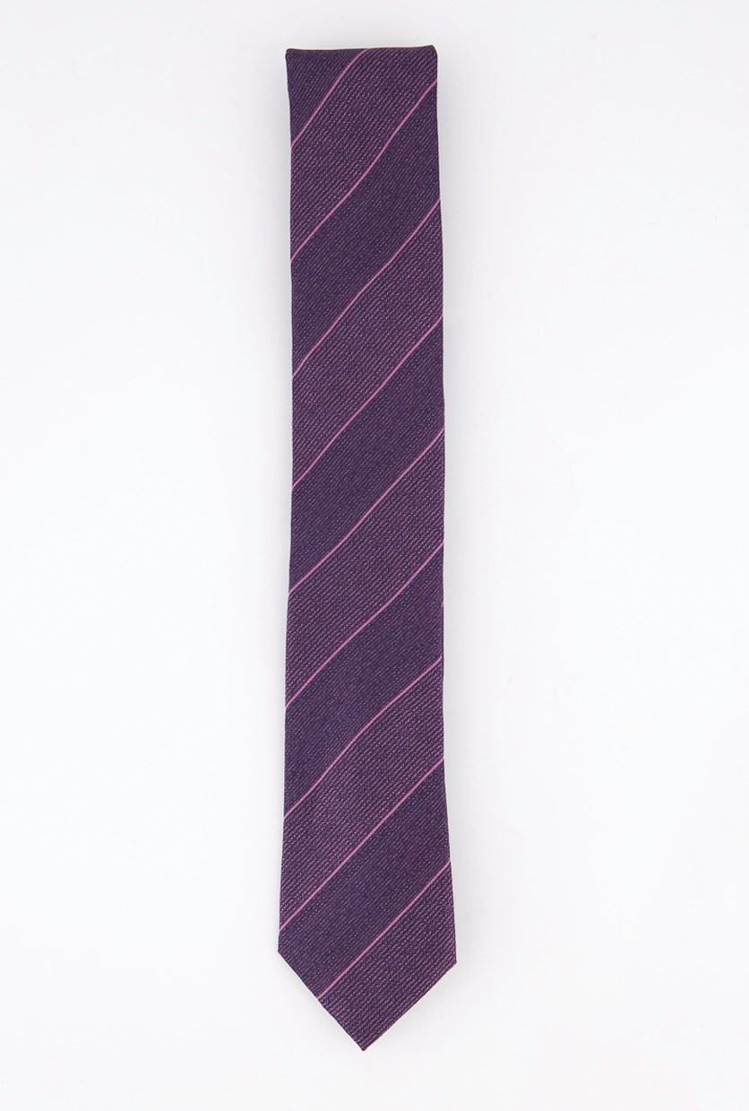 Men's Stripe Slim Silk Tie, Berry