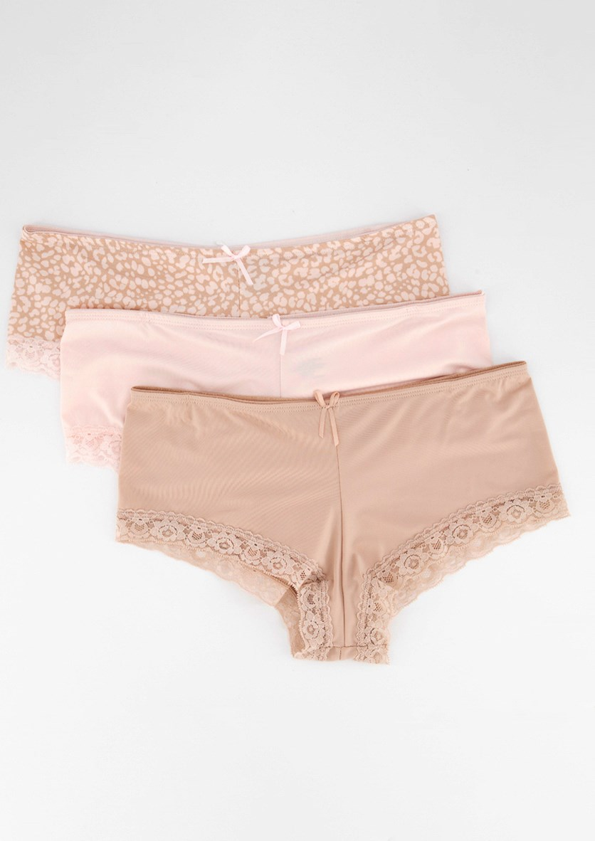 Women's 3 Pack Hipster with Lace Panty, Nude/Pink