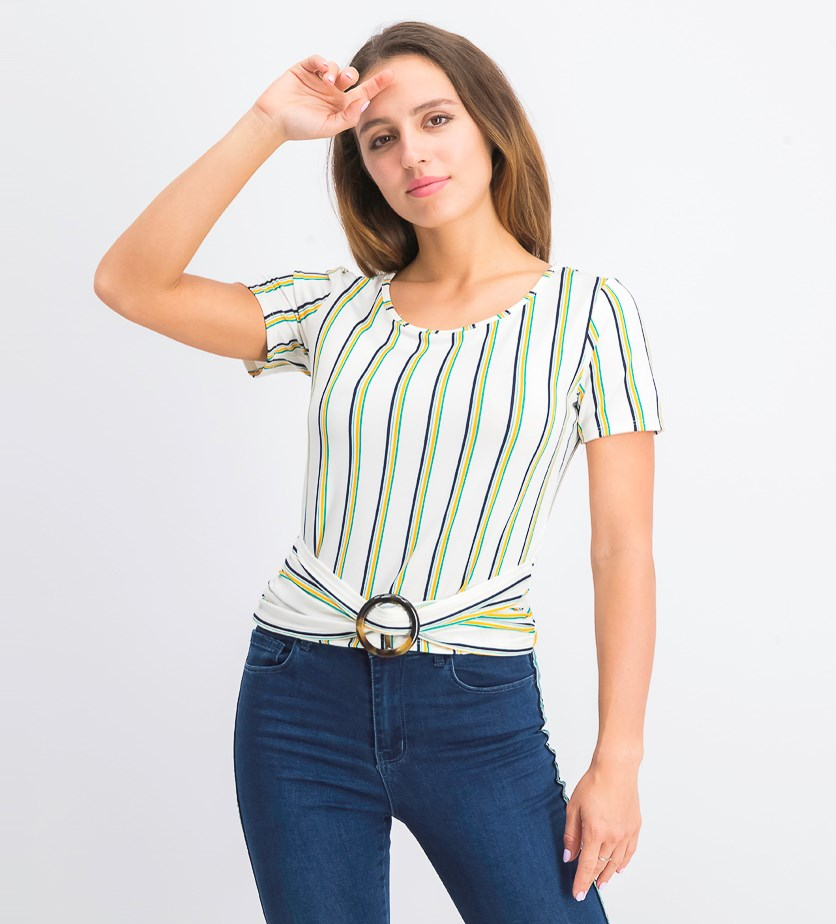 Juniors' Striped Ruched O-Ring Blouse, Ivory/Green