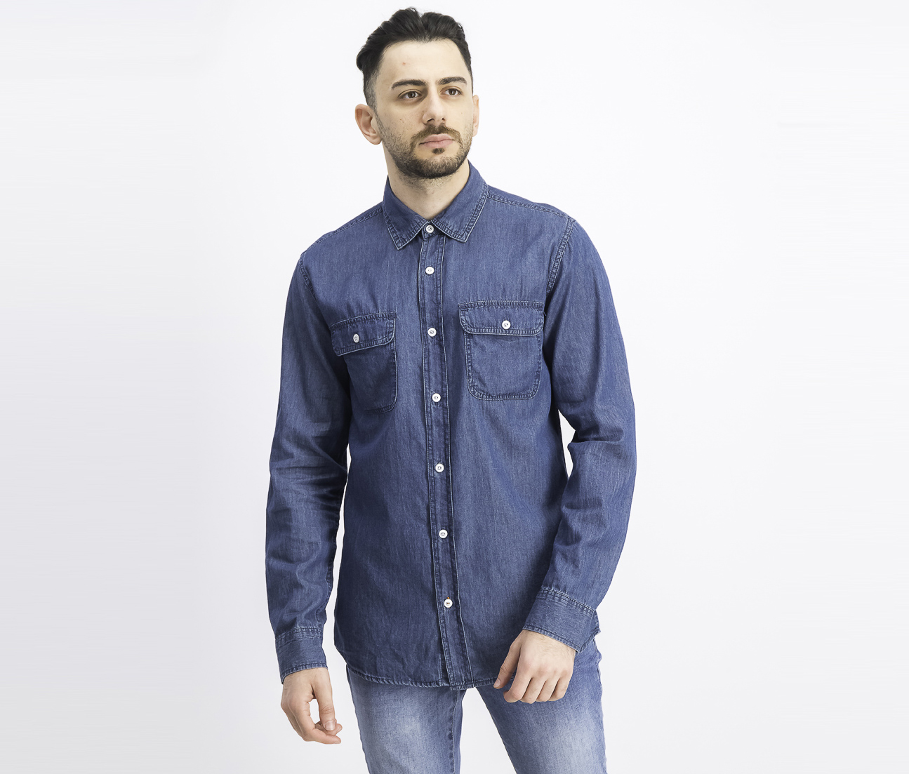 Men's Indigo Denim Shirt, Dark Blue