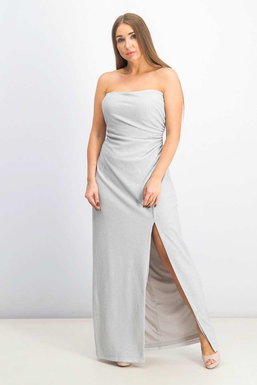 Women's Metallic-Knit Strapless Gown, Sliver